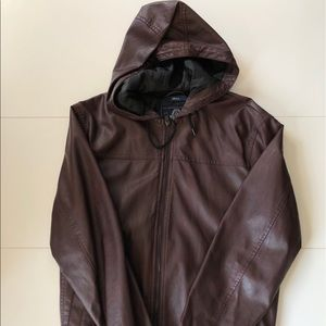 Leather zip up jacket